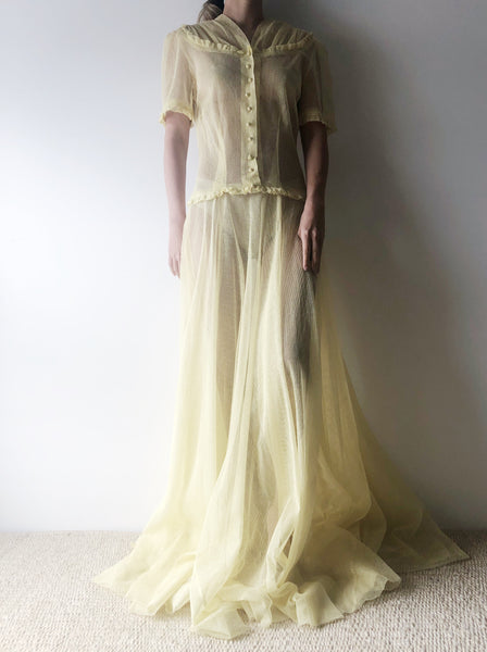 1940s Sheer Yellow Tulle Gown - S