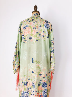 1920s Rayon/Silk Robe With Blossom Print - One Size