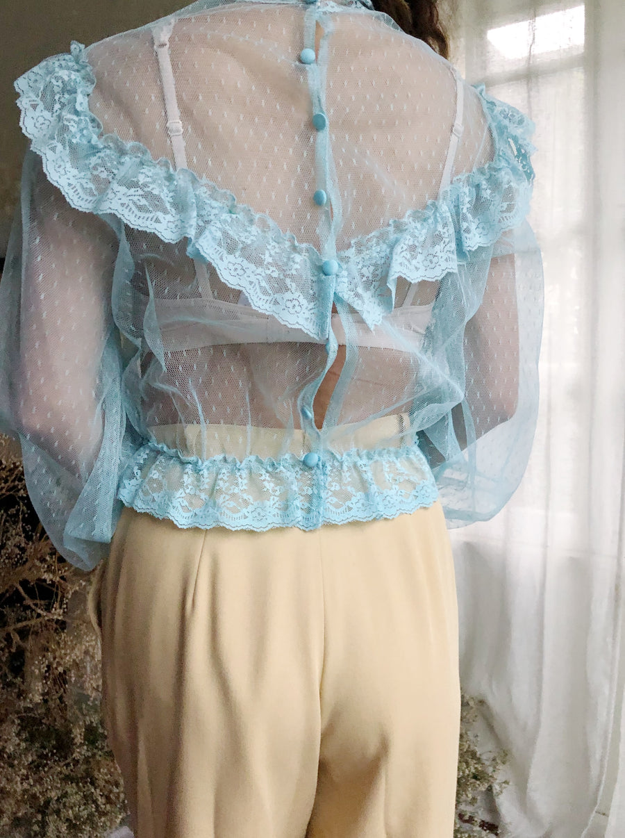 1970s Turquoise High Neck Net Top - S/M