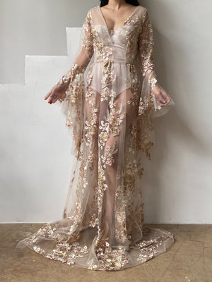 GOSSAMER Embroidered Floral Gown  - S/6