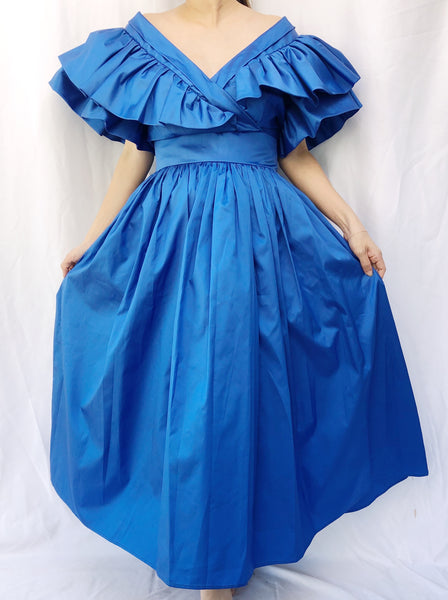 Vintage Taffeta Royal Blue Dress - S