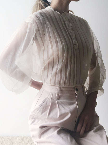 1950s Sheer White Pleated Blouse - S/M