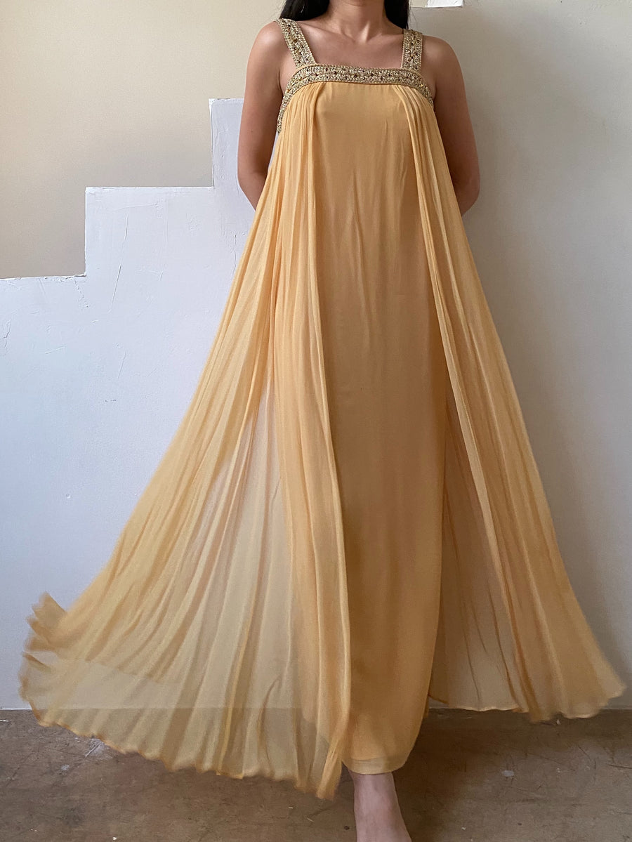 1960s Marigold Chiffon Gown - XS/S