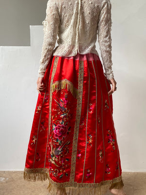 Antique Embroidered Silk Red Skirt - S/M