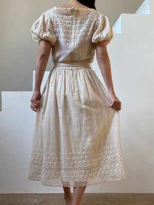 1950s Cotton Embroidered Puff Sleeve Dress - XS