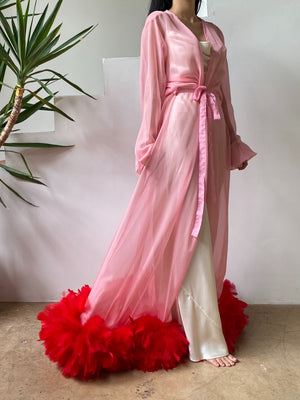 Vintage Pink Chiffon and Feather Robe - One Size