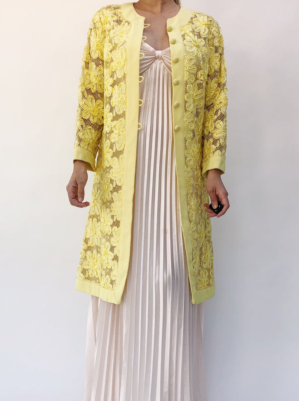 960s Yellow Ribbon Floral Lace Duster/Overcoat - S