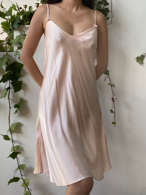 1980s Short Pink Silk Bias Cut Slip Dress - M