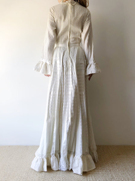 1970s High Neck Mexican Cotton Dress - S
