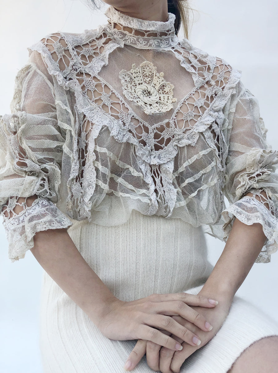 Antique Embroidered Net Top - S/M