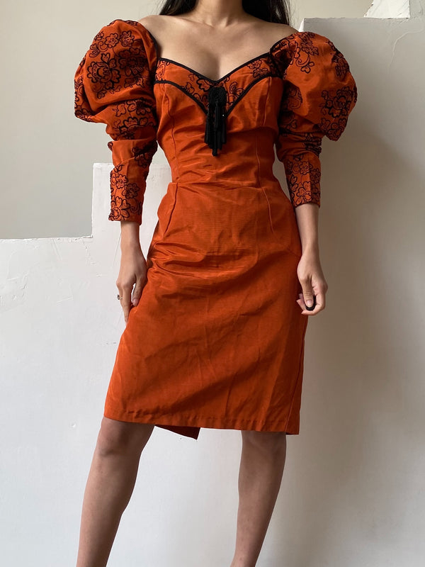RESERVED Vintage Rust-Color Mutton Sleeve Wiggle Dress - M