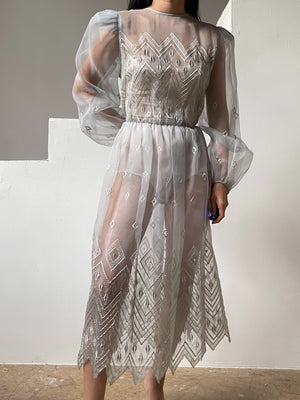 Vintage Periwinkle Embroidered Voile Dress - M