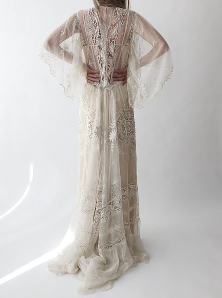 Antique Lace Embroidered Dress - S