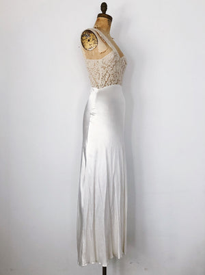 1930s Candlelight Satin and Lace Slip Dress - XS
