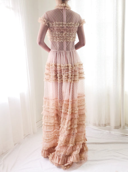 Sheer Peach Lace Tulle Gown - S/M