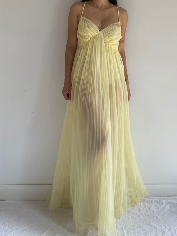 1950s Pleated Yellow Sheer Slip Gown - M