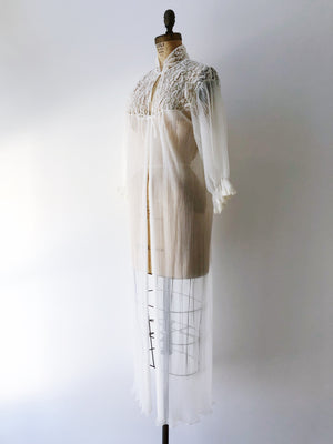 1960s Sheer Ivory Pleated Duster/Dressing Gown - OSFM