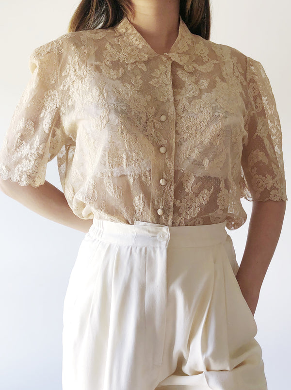 1940s Silk Alencon Lace Top - S/M