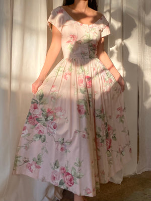 1980s Cotton Floral Dress - S