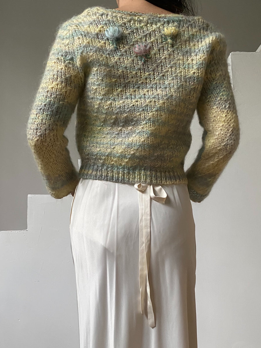 Vintage Mint Woven Mohair Cardigan - XS