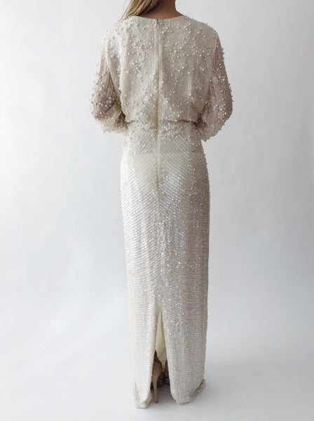 1980s Ivory Beaded Silk Chiffon Gown - M