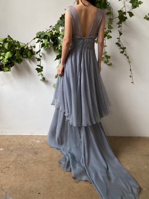 J Mendel Dusty Blue Silk Chiffon Gown - S/6