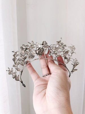 Antique Silver Rose Tiara
