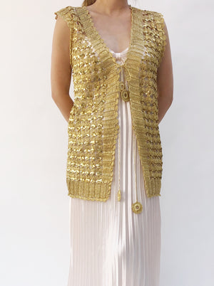 1970s Gold Metallic Vest - One Size