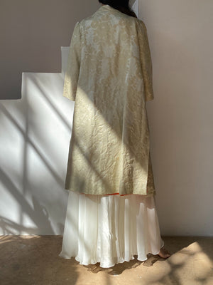 1960s Oyster Silk Brocade Duster - OSFM
