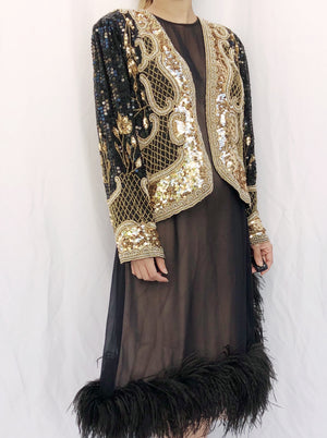 1980s Beaded Black and Gold Silk Jacket - S/M