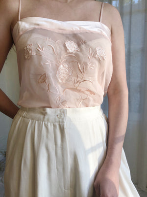 Vintage Light Pink Sheer Embroidered Top - M