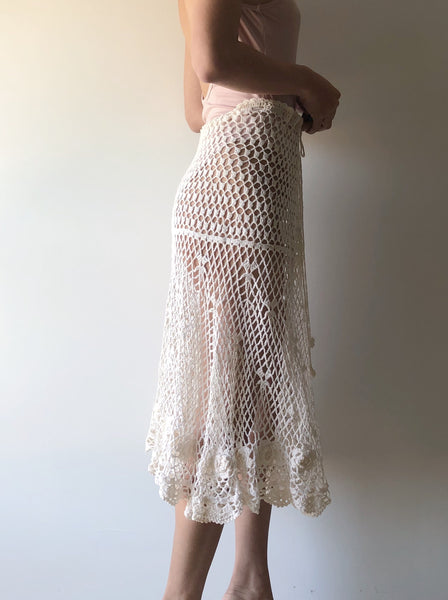 1970s Sheer Crochet Lace Skirt - XS-L