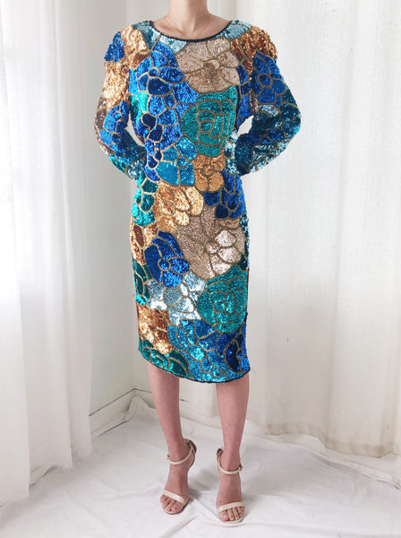 1980s Silk Beaded Floral Dress - M