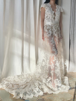 Sheer Alencon Lace Wedding Gown - S/M