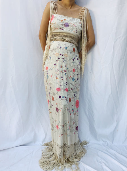 Antique Embroidered Dress with Crochet Straps - S