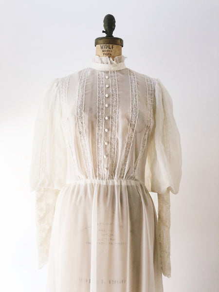 1970s Ivory Juliet Sleeves Sheer Chiffon Dress - S/M