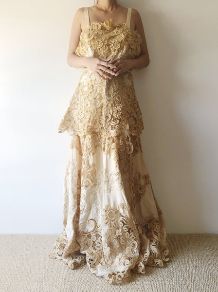 Antique Mixed Lace Silk Embroidered Gown - S/M