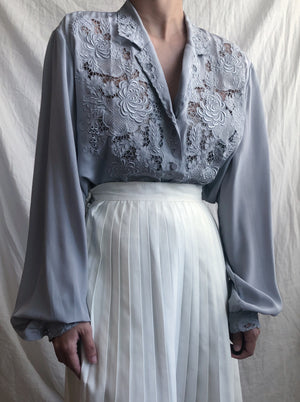 Vintage Dusty Blue Silk Embroidered Blouse - S/M