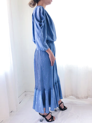 Vintage Cornflower Blue Pleated Dress -S