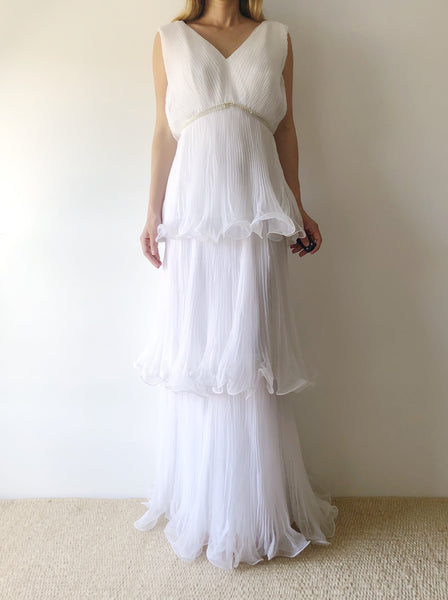 1970s White Pleated Tiered Chiffon Dress - S