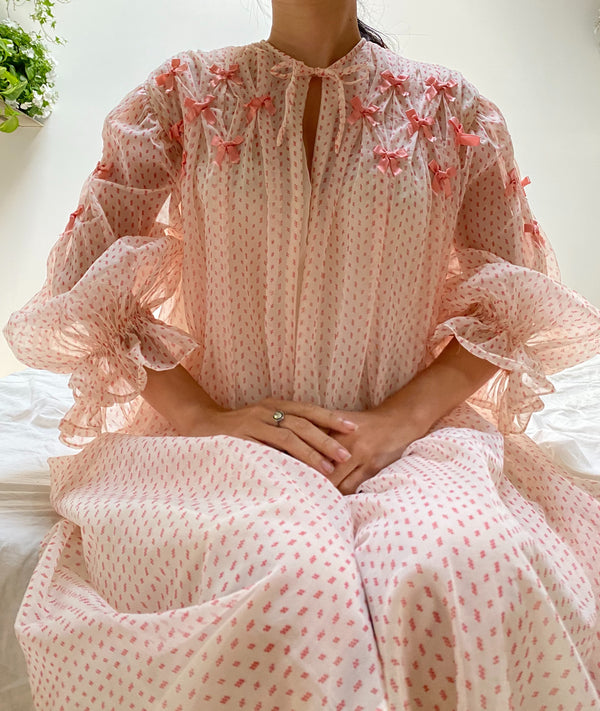1960s Sheer Nylon Bow Dressing Gown - OSFM