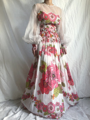 1960s Puff Sleeves Floral Tricot Gown - S/M