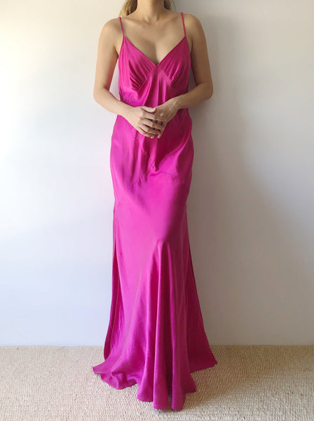 1990s Fuchsia Silk Bias Cut Slip Dress - M