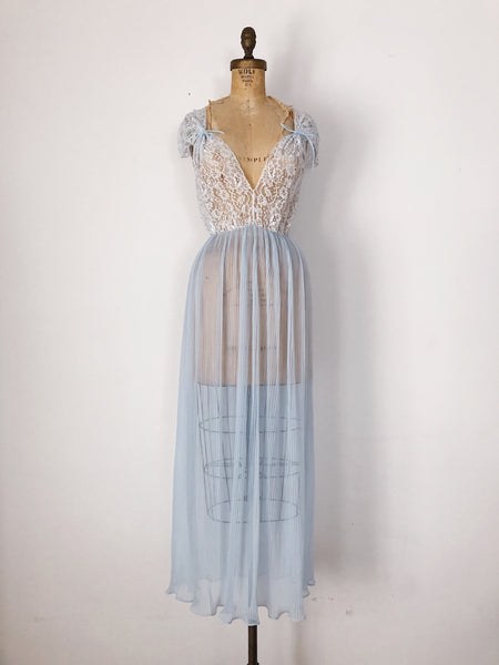 1950s Sheer Blue Pleated Nylon and Lace Slip Dress- S