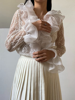 1970s Lace Ruffle Top - S/M