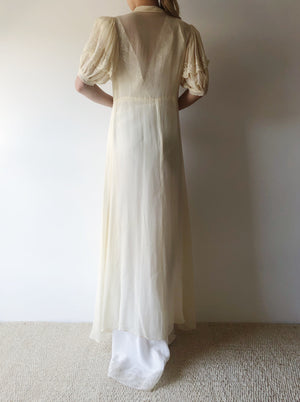 1940s Silk Chiffon and Lace Dressing Gown - XS/S