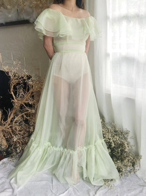 Vintage Light Green Nylon Chiffon Dress - XS