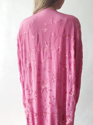 Vintage Embroidered Duster Jacket - One Size