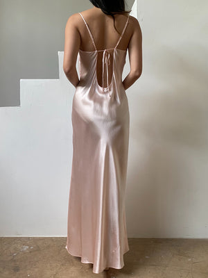Y2K Silk Pink Low Back Slip Dress - S/M