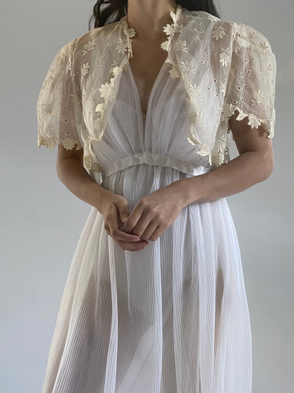 1930s Organdy Embroidered Jacket - S/M